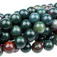Image Bloodstone 10mm round dark green with red