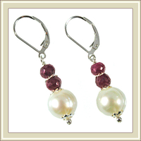 Elegant Pearl and Ruby Earrings