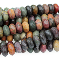 Image Red Creek Jasper 8mm faceted rondell mixed colors