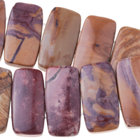 Image Sunset Mookaite 10 x 20mm double drill rectangle mixed colors