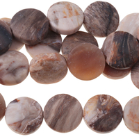 Image Wood Opalite 12mm coin mixed beiges and browns