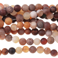 Image Wood Opalite 4mm round mixed beiges and browns