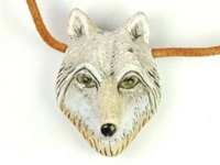 Image Clay Beads 24 x 34mm wolf head clay
