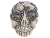 Clay Beads 28 x 21mm skull with purple mask clay