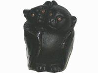 Clay Beads 24 x 18mm black bat family clay