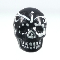 Image Clay Beads 16 x 22mm day of the dead sugar skull black with white clay