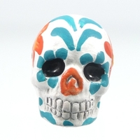 Clay Beads 16 x 22mm day of the dead sugar skull white with blue and orange clay