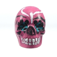 Image Clay Beads 16 x 22mm day of the dead sugar skull pink clay