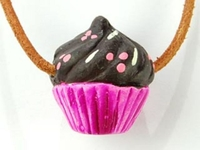 Image Clay Beads 20 x 23mm cupcake pink with brown and sprinkles clay