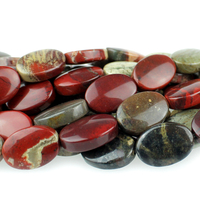 Apple Jasper 10 x 14mm oval rich red with yellow