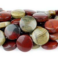 Apple Jasper 12mm coin rich red with yellow