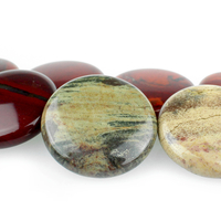 Apple Jasper 30mm coin rich red with yellow