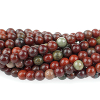 Apple Jasper 4mm round rich red with yellow