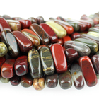 Apple Jasper 5 x 15mm flat chip rich red with yellow