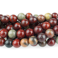 Apple Jasper 6mm round rich red with yellow