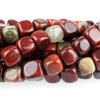 Apple Jasper 7mm cube rich red with yellow