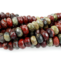 Apple Jasper 8mm faceted rondell rich red with yellow