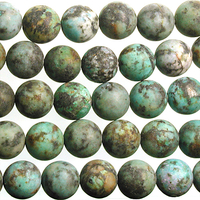 10mm Round African Turquoise Matte Stone Bead - Blue Green with Spots   Natural Semiprecious Jasper Gemstone