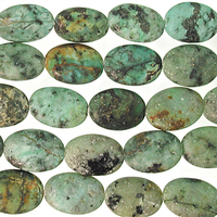 10 x 14mm Oval African Turquoise Matte Stone Bead - Blue Green with Spots   Natural Semiprecious Jasper Gemstone