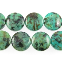 African Turquoise 12mm coin blue green with spots