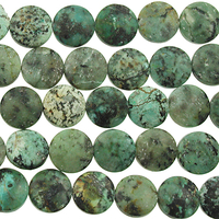 12mm Coin African Turquoise Matte Stone Bead - Blue Green with Spots | Natural Semiprecious Jasper Gemstone