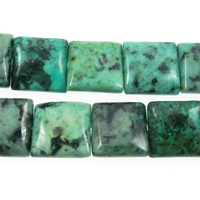 African Turquoise 12mm square blue green with spots