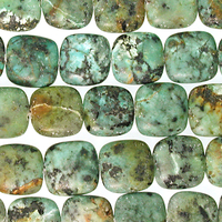 African Turquoise matte 12mm square blue green with spots