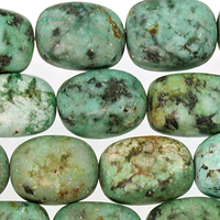 African Turquoise matte 12 x 16mm nugget blue green with spots