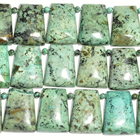 African Turquoise appx 22 x 30mm trapezoid blue green with spots