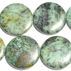 African Turquoise 30mm coin blue green with spots