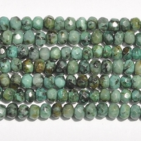 African Turquoise 4mm faceted rondell blue green with spots