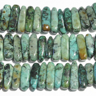 African Turquoise 5 x 15mm flat chip blue green with spots
