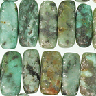 African Turquoise matte 5 x 15mm flat chip blue green with spots