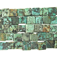 6mm Cube African Turquoise Matte Stone Bead - Blue Green with Spots | Natural Semiprecious Jasper Gemstone