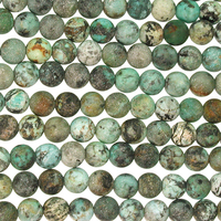 6mm Round African Turquoise Matte Stone Bead - Blue Green with Spots | Natural Semiprecious Jasper Gemstone