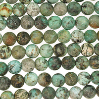 African Turquoise matte 6mm round blue green with spots