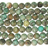 8mm Round African Turquoise Matte Stone Bead - Blue Green with Spots | Natural Semiprecious Jasper Gemstone