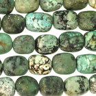 African Turquoise matte 8 x 10mm nugget blue green with spots