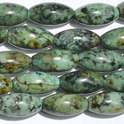 African Turquoise 8 x 16mm oval blue green with spots