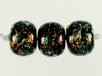 Image Czech Handmade Lampwork round 10mm copper with green dichroic