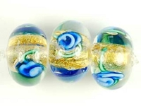 Image Czech Handmade Lampwork rondell 12 x 8mm gold foil with blue flowers