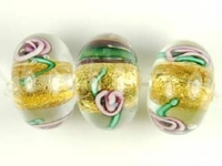 Czech Handmade Lampwork rondell 12 x 8mm gold foil with purple flowers