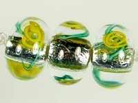 Image Czech Handmade Lampwork rondell 12 x 8mm silver foil with yellow flowers