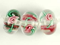 Czech Handmade Lampwork rondell 12 x 8mm clear with pink flowers