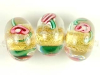 Czech Handmade Lampwork rondell 12 x 8mm gold foil with pink flowers