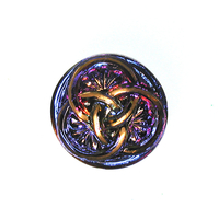 Czech Glass Buttons purple, pink & orange with bronze 3 intertwining circles with glass shank 23mm