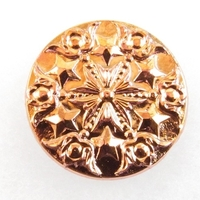 Czech Glass Buttons pink coppery gold metallic mandala with stars with glass shank 33mm