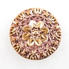 Czech Glass Buttons pink coppery gold metallic mandala with flower with metal shank 37mm