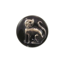 Czech Glass Buttons black with pewter handpainted cat button with glass shank 13mm