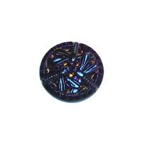 Czech Glass Buttons blue iridescent with bronze 3 dragonfly button with glass shank 18mm